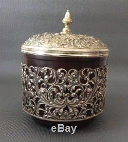 Rare Antique Solid Silver and Bakelite Tea Caddy / Dutch Continental Sterling