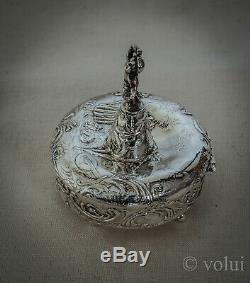 Rare Antique Victorian Dutch Embossed Solid Silver And Gilt Table Toy / Pill Pot