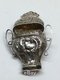 Rare Double Ended Solid Silver Dutch Georgian Peppermint Patch Box Dated 1824