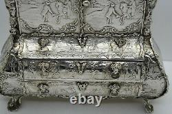 Rare Large DUTCH 1890 solid silver scenic CABINET with CANDLE HOLDERS. 961 gram