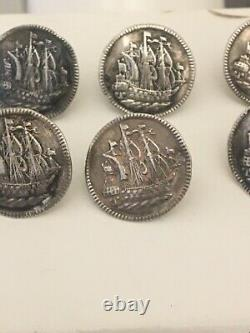 Rare Set Of 6 Silver Picture Buttons 1832 Dutch Three Mast Ship