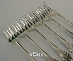 SIX DUTCH SOLID SILVER COCKTAIL BAR FORKS c1910-1920'S ANTIQUE BEAUTIFUL