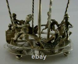 STUNNING DUTCH 835 SOLID SILVER TOY MERRY-GO-ROUND CAROUSEL c1950 ANTIQUE 96g