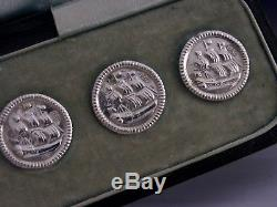 SUPER ANTIQUE SOLID STERLING SILVER TALL SHIP BUTTONS c1900 DUTCH ANTIQUES