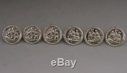 SUPER CASED SET OF SIX STERLING SILVER TALL SHIP BUTTONS c1900 DUTCH ANTIQUES