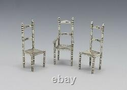 Set Of 3 19th Century Miniature Dutch Silver Ladder Back Chairs