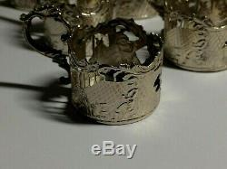 Set Of 6 X Solid Silver. Dutch Liquer Glass Cup Holders Amsterdam 1900 -105. Gms