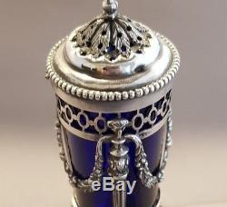 Silver Dutch Pepper Shaker with Blue Glass Liner Late 19th -Early 20th Century