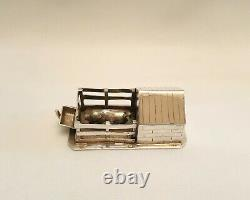 Small antique Dutch silver pigsty or pig shelter with pig, novelty collectable