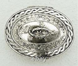 Solid Dutch Sterling Silver Powder Snuff Compact Box with Gold Washed Interior