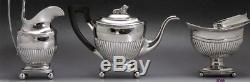 Superb 1819 Dutch Silver 3pc Ribbed Tea Set Heavy Weight