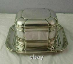 Superb Dutch Solid Silver Biscuit Box And Tray 641g Van Kempen 1940