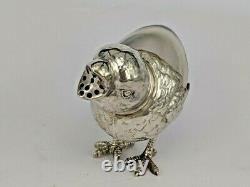 Unusual Miniature silver baby chick with glass rear body pepperpot