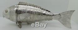 Unusually LARGE solid silver ARTICULATED FISH. 14 INCHES LONG. Dutch c. 1880