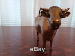 VTG Antique Dutch Silver Cow Creamer with Jeweled Ruby Eyes with Bee on Lid