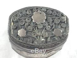Vintage Dutch Sterling Oblong withApplied Decoration Hinged Wedding/Spice Box