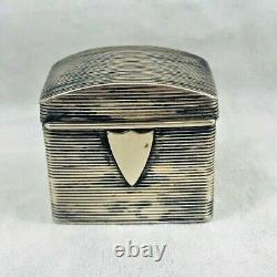 Vintage Dutch Sterling Spice Box withApplied Shield-1 1/4x3/4x1 1/8
