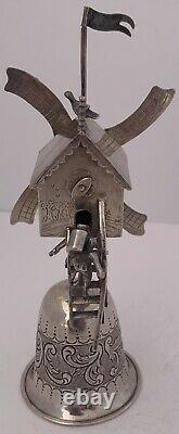 Wonderful Sterling Silver Windmill Wager Cup Dutch & English Import Marks 1896